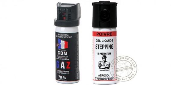 Lot de 2 bombes de défense 50ml Gaz CS + 50 ml Gel Poivre - PROMOTION