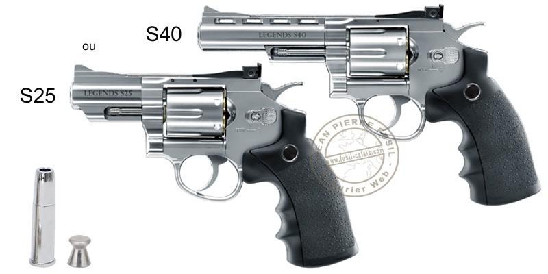 Revolver à plombs 4.5mm CO2 UMAREX Legends S25 - Canon 2.5'' - Argent (2,8 Joules)