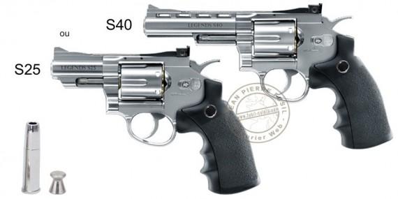 Revolver à plombs 4.5mm CO2 UMAREX Legends S25 ou S40 - Finition Argent (2,8 à 3,2 Joules)