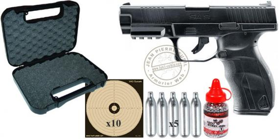 Kit pistolet CO2 4,5mm UMAREX - S.A.9 noir (2,5 Joules) - PACK DE NOEL