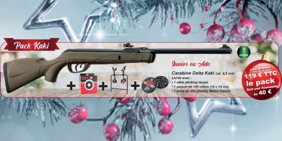 Kit carabine à plombs 4,5 mm GAMO Delta kaki (7,5 Joules) - PACK PROMO NOEL 2020