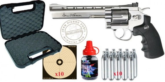Pack Revolver à plombs 4,5 mm CO2 ASG Dan Wesson 6'' - Nickelé (3 joules) - PROMOTION NOEL