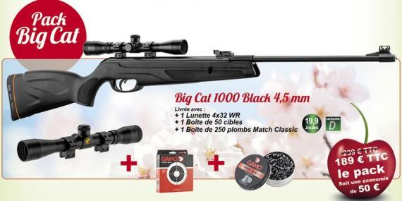 Kit carabine à plombs 4,5 mm GAMO Big Cat 1000 Black (19,9 Joules) + Lunette 4x32 - PACK CERISE 2021