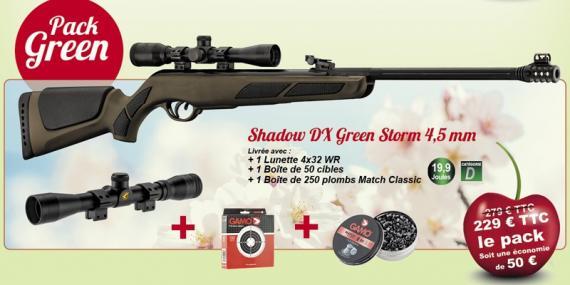 Pack carabine à plomb 4.5 mm GAMO Shadow DX Green Storm (19.9 joules) + lunette 4x32 - PACK CERISE 2021