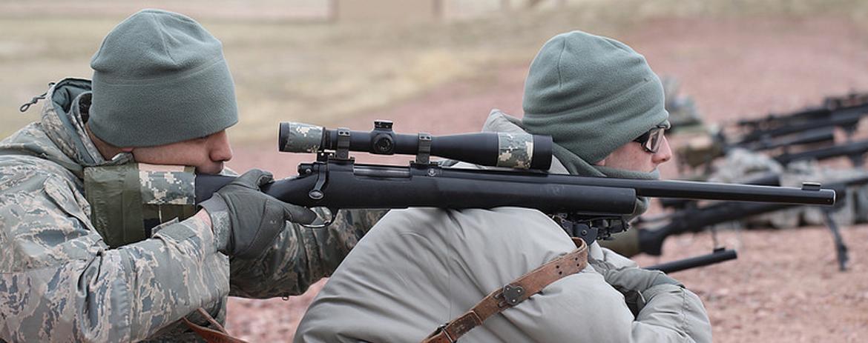 Person aiming at the pellet gun